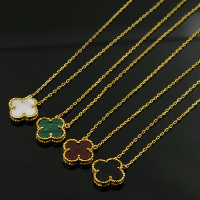 High quality White shell Black Onyx malachite single flower Clover Necklace 18K gold Fine Jewelry for women gift Nickel