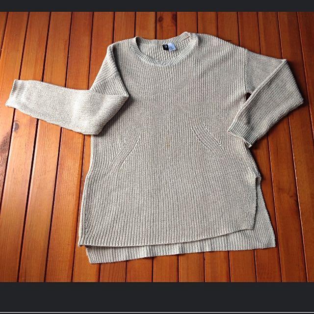 H&M杏色長版長袖細針織上衣