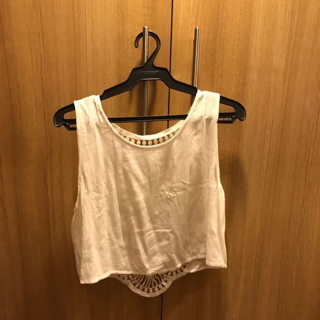 H&M (Coachella Line) White Crop Top With Patterned Back