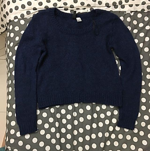H&M Navy Blue Knitwear Sweater Jumper