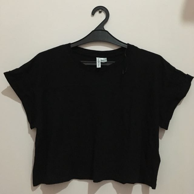 HnM Divided Cropped Tee Black M