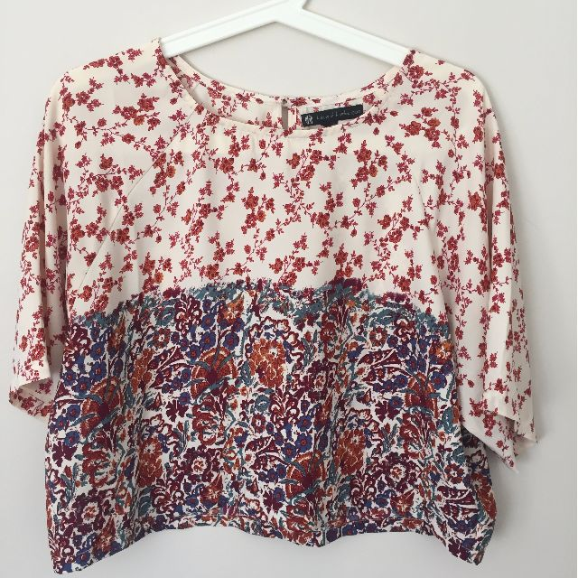 House of Harlow Silk Floral Crop Top