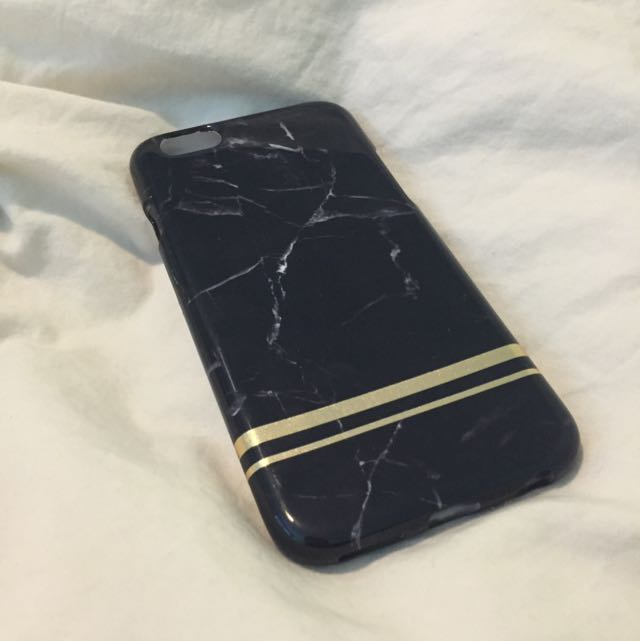 iPhone 6 Case - Black Marble W/ Gold