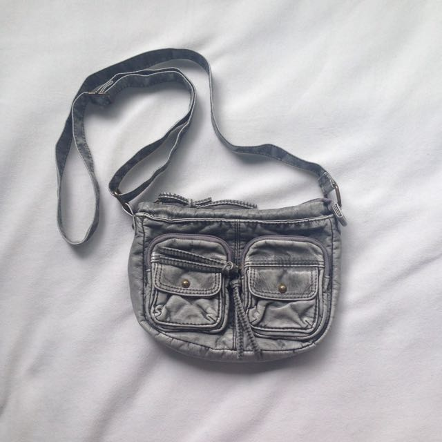 Khaki/ grey fake leather bag