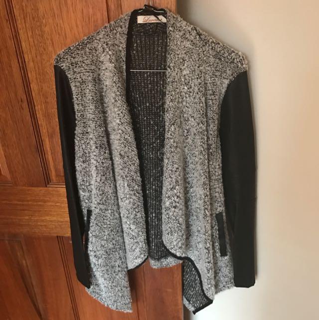 Knit/PU Leather Jacket