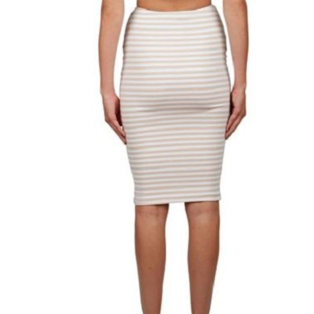 KOOKAI Amber midi skirt in beige stripe - size 1 (34)