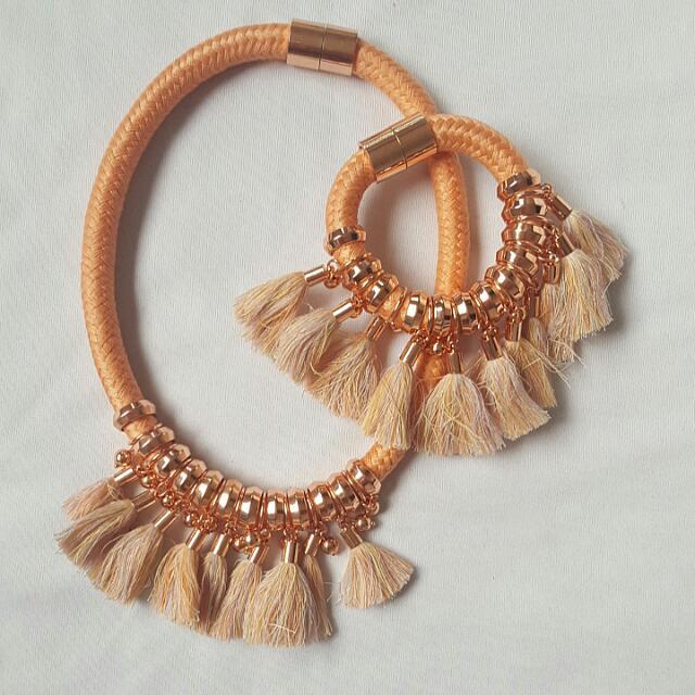 Kookai Necklace And Bracelet Set Rose Gold Colour