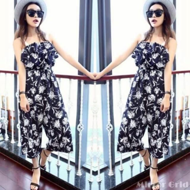 Korean Linen Chiffon 3d Floral Layer Top Jumpsuit