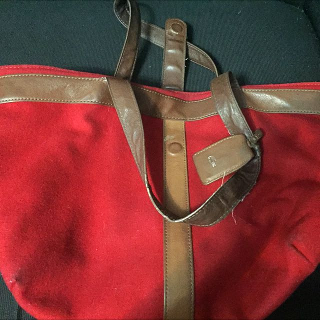 Lacoste Red Suede Bag