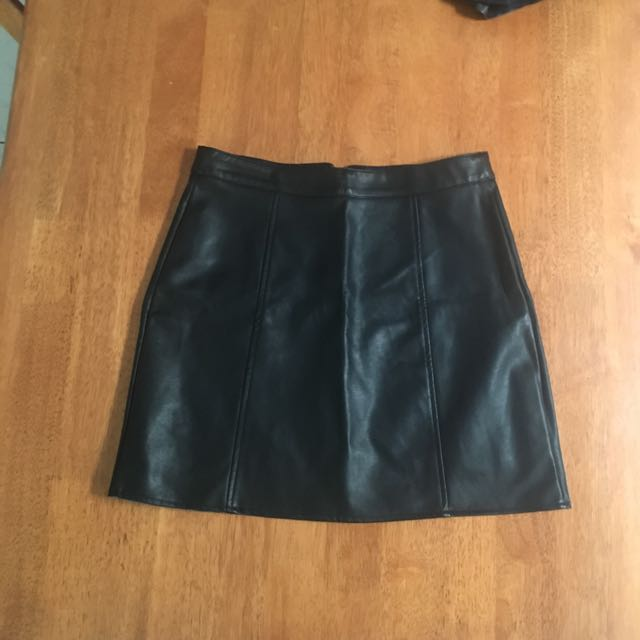 Leather Look Black Mini Skirt