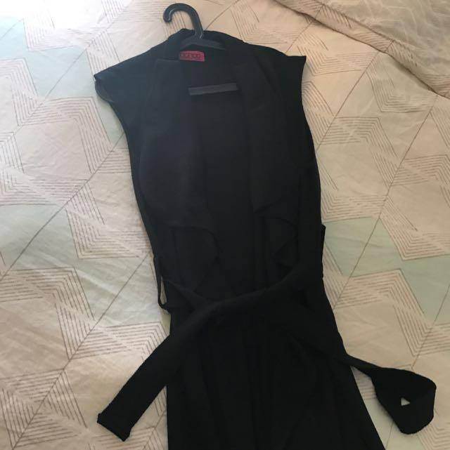 Long Black Waterfall Sleeveless Knit
