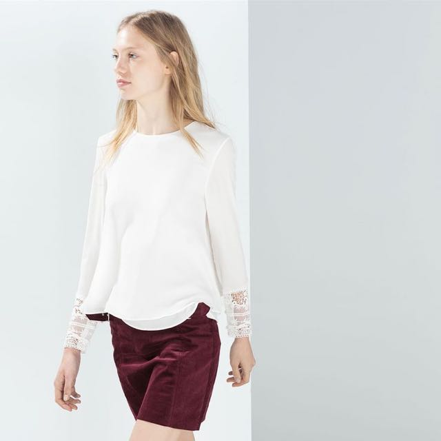 Looking For: ZARA Top with Embroidered Cuff