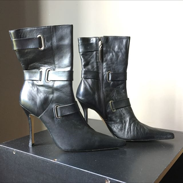 Luchiny Black Zip Up Boots - Size 10
