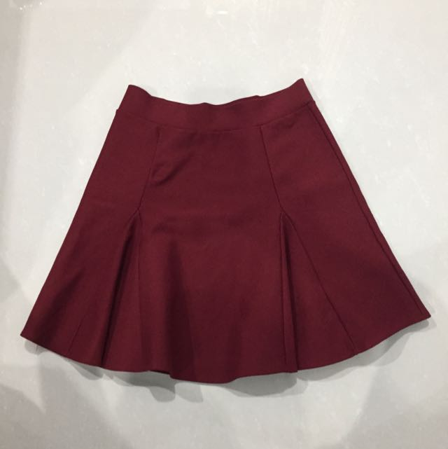 Maroon Flare Tennis Skirt