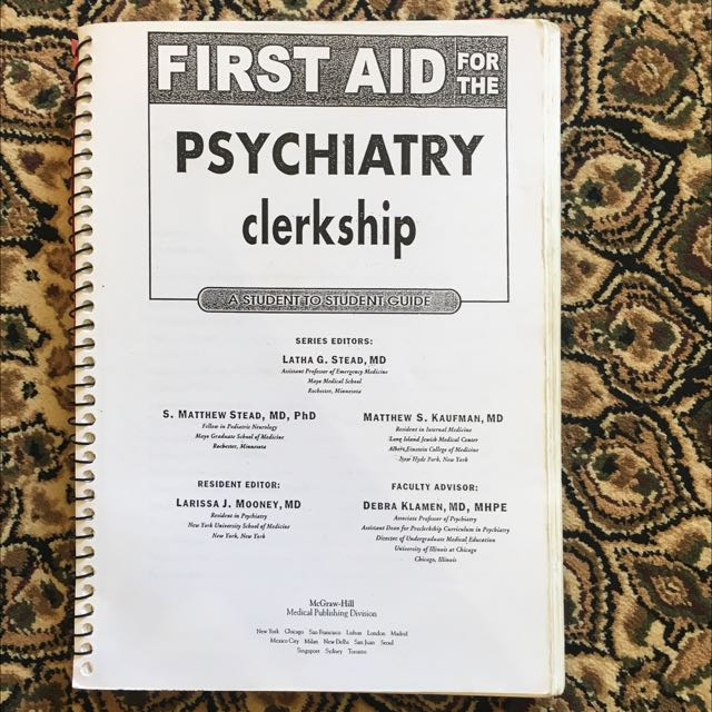 Medical Books First Aid Psychiatry Clerkship Books Stationery