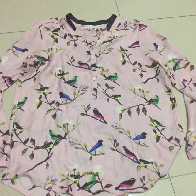 Minimal Pink Birds Blouse