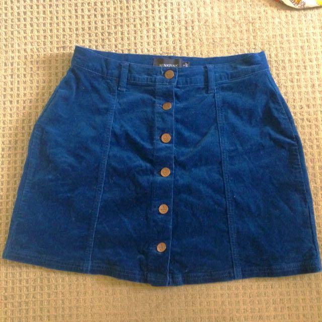 Minkpink Blue Corduroy High Waisted Skirt Small