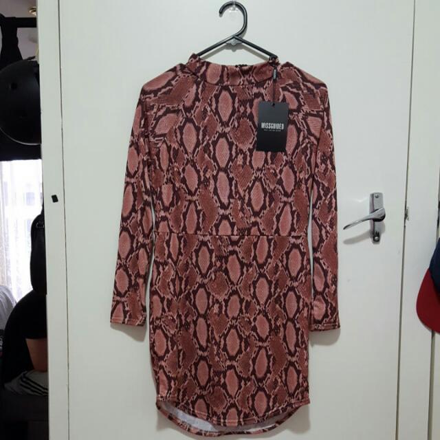 Missguided Curved Hem Snakeskin Print Dress Petite 12 NWT