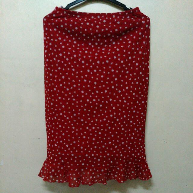 New Red Polka Long Skirt