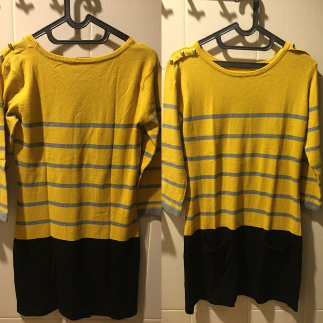 NO BRAND yellow Stripe Dress (size:M)