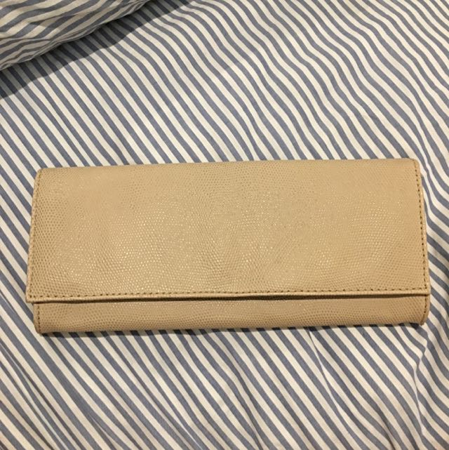 Nude Lizard Look Genuine Leather Clutch