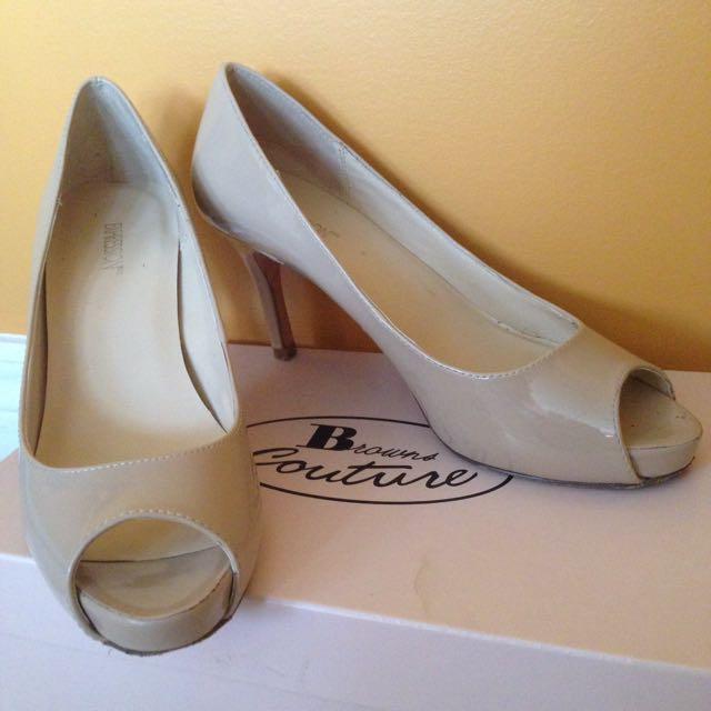 Nude Patent Peep-Toe Heels
