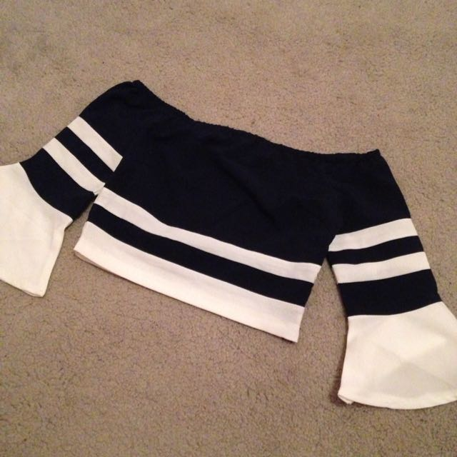 Off The Shoulder Navy Stripe Crop