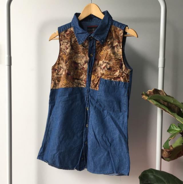 Oversized Vintage Long Denim Vest/ Top