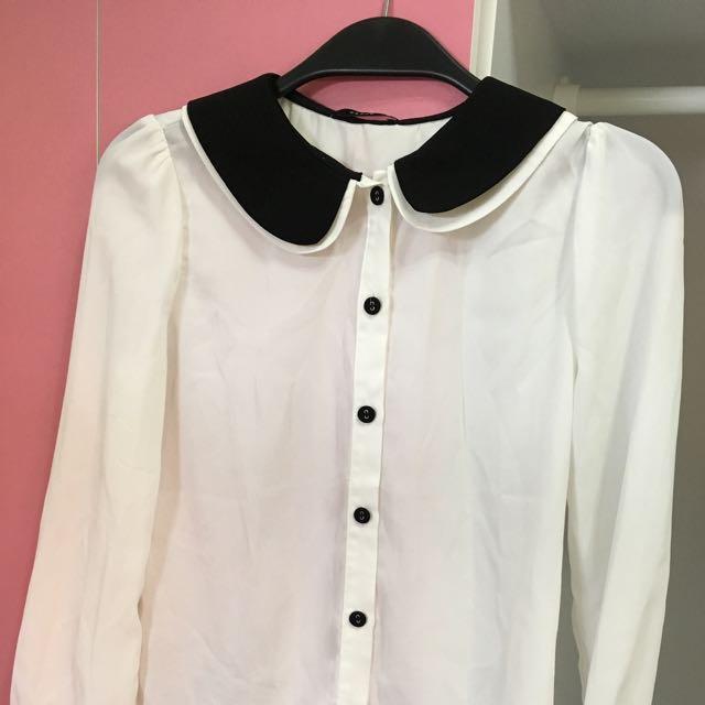 白色黑領襯衫PAZZO