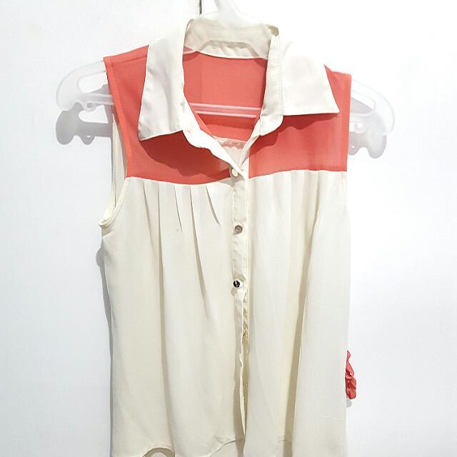 Peach & White Sleeveless Top