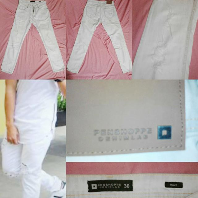 Penshoppe White Ripped Jeans