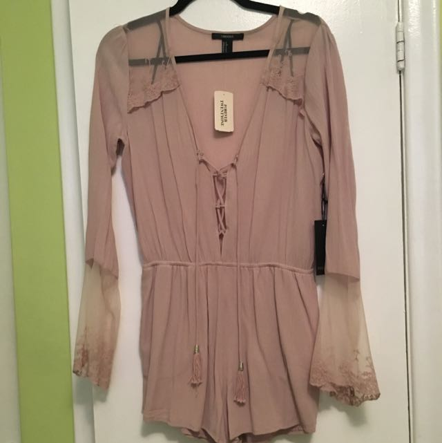 Pink Romper With Lace Detailing