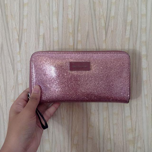 stradivarius pink glitter wallet (ORI)