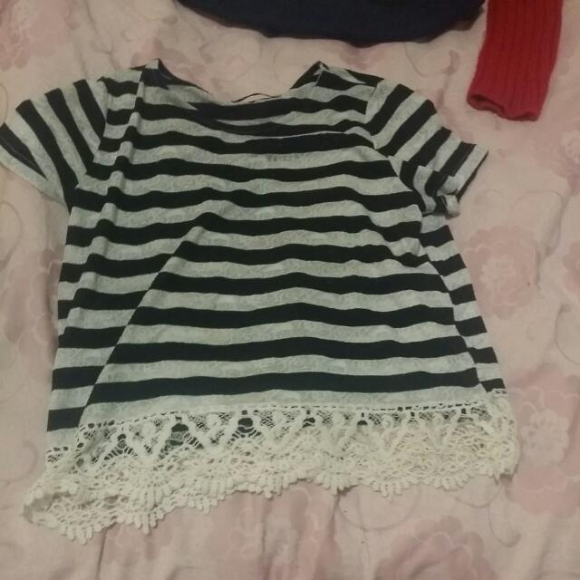 Tempt Top Black And White Stripes