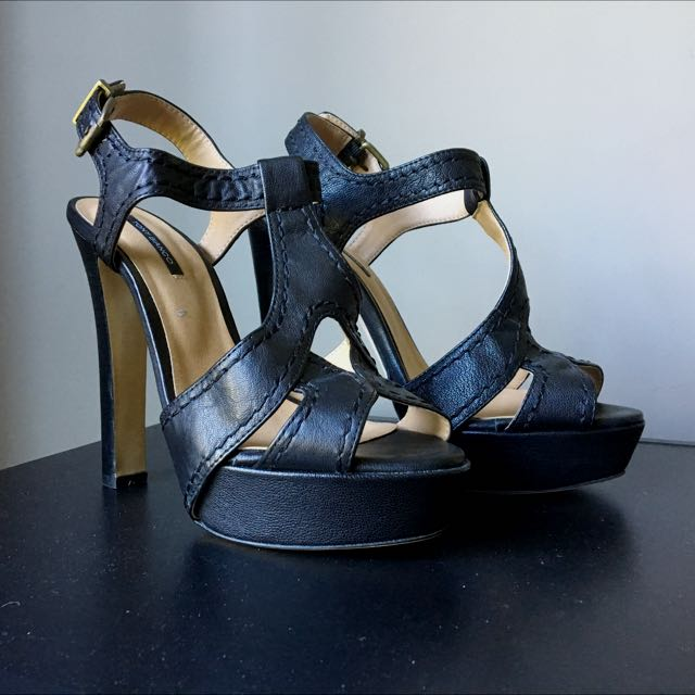 Tony Bianco Black Strappy Heels - Size 8 1/2