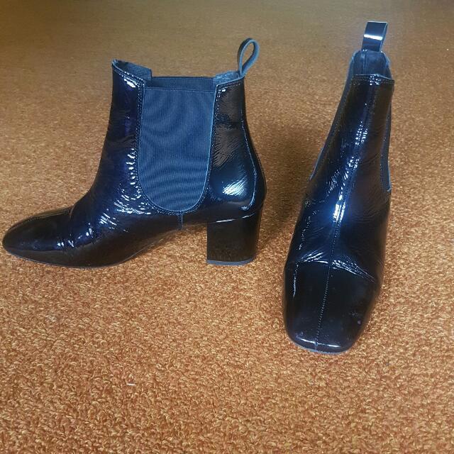 Topshop Black Shiny Boots