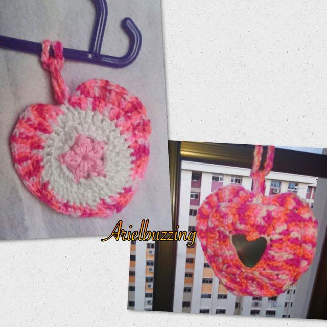 Crochet Air Freshener Holder / Coaster (Heart)