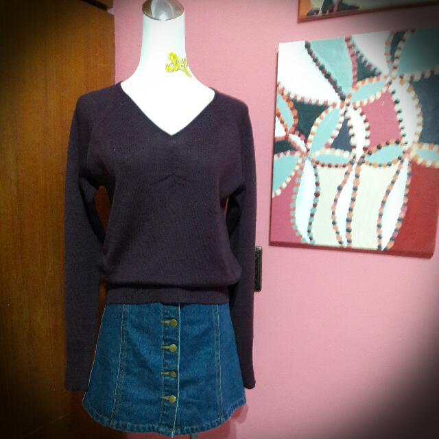 葡萄紫v領針織上衣