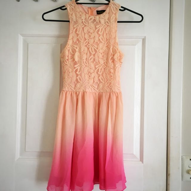 Watermelon And Pink Gradient Lace Dress