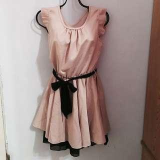 韓 全新 粉色 短袖 洋裝