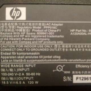 HP laptop adapter part no : 608426-002
