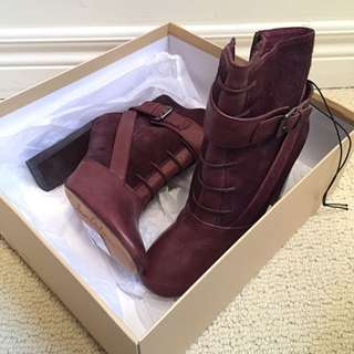 Genuine Leather Burgundy Heel Boots