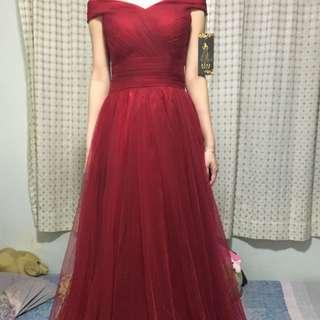 紅色off Shoulder 晚裝裙 Prewedding Xs-s Size
