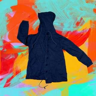 深藍 薄 風衣 外套