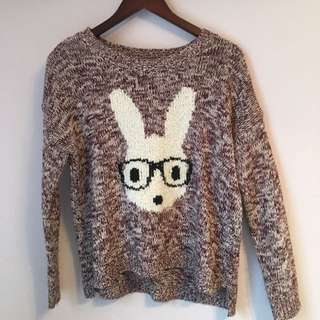 Burgundy Knit Bunny Sweater