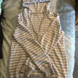 Grey & White Stripe Hoodie - 10