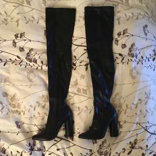 Sexy Thigh High Black Pleather Boots