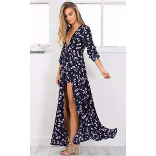 """Showpo """"Steal the Show"""" Maxi Playsuit in Navy Floral"""