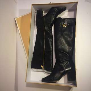 Size 11, Black Genuine Leather Michael Kors Tall Boots