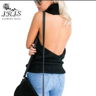 Backless Sleeveless Turtleneck